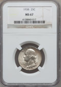 Washington Quarters: , 1938 25C MS67 NGC. NGC Census: (58/1). PCGS Population (39/0).Mintage: 9,480,045. Numismedia Wsl. Price for problem free N...