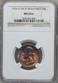 Washington Quarters, 1934-D 25C Heavy Motto, Small D, FS-501 MS65 ★ NGC. NGC Census:(0/0). PCGS Population (2/1)....