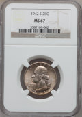Washington Quarters: , 1942-S 25C MS67 NGC. NGC Census: (61/0). PCGS Population (32/1).Mintage: 19,384,000. Numismedia Wsl. Price for problem fre...