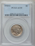 Buffalo Nickels: , 1918-S 5C AU55 PCGS. PCGS Population (51/480). NGC Census:(26/455). Mintage: 4,882,000. Numismedia Wsl. Price for problem ...
