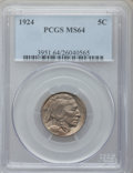 Buffalo Nickels: , 1924 5C MS64 PCGS. PCGS Population (407/301). NGC Census:(252/142). Mintage: 21,620,000. Numismedia Wsl. Price forproblem...