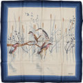 Luxury Accessories:Accessories, Gucci Cream & Navy Silk Scarf with Bird Motif. ...