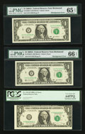 Error Notes:Error Group Lots, Fr. 1915-H $1 1988A Federal Reserve Notes. Three ConsecutiveExamples. PCGS Choice New 63PPQ-Very Choice New 64PPQ; Fr.1916-K... (Total: 6 notes)