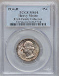 Washington Quarters, 1934-D 25C Heavy Motto MS64 PCGS. PCGS Population (169/67). .From The Teich Family Collection....