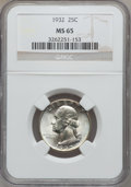 Washington Quarters: , 1932 25C MS65 NGC. NGC Census: (346/92). PCGS Population (529/176).Mintage: 5,404,000. Numismedia Wsl. Price for problem f...