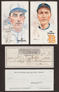 Baseball Collectibles:Others, Al Simmons and Pie Traynor Signed Checks Lot of 2....