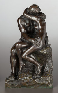 AUGUSTE RODIN (French, 1840-1917) Le Baiser, 3ème réduction, designed in 1886, the reduced version conc