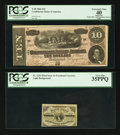 Confederate Notes:1864 Issues, T68 $10 1864 PF-20 Cr. 546;. Fr. 1226 3¢ Third Issue PCGS Very Fine 35PPQ.. ... (Total: 2 notes)