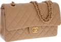 Luxury Accessories:Accessories, Chanel Beige Lambskin Leather Medium Classic Double Flap Bag withGold Hardware . ...