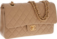 Chanel Beige Lambskin Leather Medium Classic Double Flap Bag with Gold Hardware