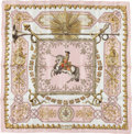 "Luxury Accessories:Accessories, Hermes Pink, White & Gold ""Ludovicus Magnus,"" by Françoise DeLa Perriere Silk Scarf. ..."