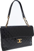 Luxury Accessories:Travel/Trunks, Chanel Black Patent Leather XXL Flap Bag Overnight Bag. ...