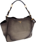 Luxury Accessories:Bags, Prada Metallic Leather Vitello Daino Hobo Bag. ...