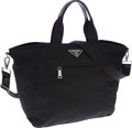 Luxury Accessories:Bags, Prada Black Vela Nylon Tote Bag with Shoulder Strap. ...