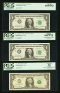 Error Notes:Error Group Lots, Fr. 1901-J* $1 1963A Federal Reserve Star Notes. Two ConsecutiveExamples. PCGS Gem New 66PPQ; Fr. 1929-F $1 2003 Federal Rese...(Total: 7 notes)