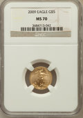Modern Bullion Coins, 2009 $5 Tenth-Ounce Gold Eagle MS70 NGC. NGC Census: (604). PCGSPopulation (21). Numismedia Wsl. Price for problem free N...