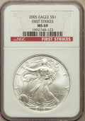 Modern Bullion Coins, 2005 $1 One Ounces First Strike Silver Eagle MS69 NGC. PCGSPopulation (42294/333)....