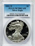 Modern Bullion Coins, 2002-W $1 Silver Eagle PR70 Deep Cameo PCGS. PCGS Population(1478). NGC Census: (3644). Numismedia Wsl. Price for problem...