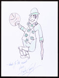 Autographs:Others, Bob Cousy: Basketball Player's Doodle for Hunger. Benefiting St Francis Food Pantries and Shelters. ...