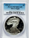 Modern Bullion Coins: , 1993-P $1 Silver Eagle PR70 Deep Cameo PCGS. PCGS Population (293).NGC Census: (311). Mintage: 403,625. Numismedia Wsl. Pr...