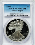 Modern Bullion Coins: , 1996-P $1 Silver Eagle PR70 Deep Cameo PCGS. PCGS Population (866).NGC Census: (618). Numismedia Wsl. Price for problem f...
