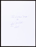 Movie/TV Memorabilia:Autographs and Signed Items, Dale Robertson: Actor's Doodle for Hunger. Benefiting StFrancis Food Pantries and Shelters...