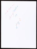 Music Memorabilia:Autographs and Signed Items, Johnny Mathis: Singer's Doodle for Hunger. Benefiting StFrancis Food Pantries and Shelters...