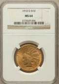 Indian Eagles: , 1910-D $10 MS64 NGC. NGC Census: (820/265). PCGS Population(649/119). Mintage: 2,356,640. Numismedia Wsl. Price for proble...