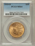 Indian Eagles: , 1910-D $10 MS64 PCGS. PCGS Population (649/119). NGC Census:(820/265). Mintage: 2,356,640. Numismedia Wsl. Price for probl...