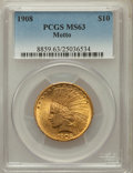 Indian Eagles: , 1908 $10 Motto MS63 PCGS. PCGS Population (742/319). NGC Census:(469/304). Mintage: 341,300. Numismedia Wsl. Price for pro...