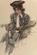 Mainstream Illustration, HARRISON FISHER (American, 1875-1934). Modern Woman, TheSaturday Evening Post cover, March 5, 1910. Pencil andwatercol...