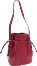 Luxury Accessories:Bags, Lancel Red Pressed Leather Bucket Bag with Matching Wallet. ...(Total: 2 Items)