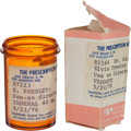 Music Memorabilia:Memorabilia, Elvis Presley-Owned Prescription Bottle and Box (1976). ... (Total: 2 Items)
