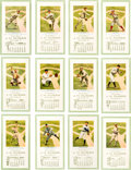 Baseball Cards:Sets, 1914 - 15 J.H. Dugan Baseball Calendar Cabinet Cards Complete Setof Twelve-The Only Known Representations of this Issue!. ...