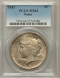 Peace Dollars: , 1921 $1 MS64 PCGS. PCGS Population (3763/1377). NGC Census:(3420/1220). Mintage: 1,006,473. Numismedia Wsl. Price for prob...