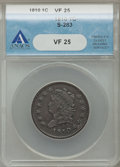 Large Cents, 1810 1C S-283, B-4, R.2 VF25 ANACS. ...