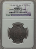 Large Cents, 1797 1C Reverse of 1795, Gripped Edge, S-121b, B-3b, R.3 --Environmental Damage -- NGC Details. VF. PCG...