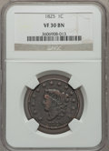 Large Cents: , 1825 1C VF30 NGC. NGC Census: (4/103). PCGS Population (9/94).Mintage: 1,461,100. Numismedia Wsl. Price for problem free N...