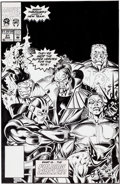 Original Comic Art:Covers, Mark Bagley and Larry Mahlstedt The New Warriors #21 Cover Original Art (Marvel, 1992)....