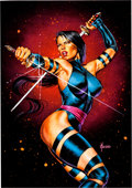 Original Comic Art:Paintings, Joe Jusko Marvel Masterpieces Psylocke Trading Card OriginalArt (Marvel, 1992)....