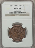 Large Cents: , 1857 1C Small Date AU58 NGC. NGC Census: (0/0). PCGS Population(18/23). ...