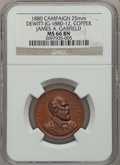 U.S. Presidents & Statesmen, 1880 James A. Garfield Campaign Medal MS66 Brown NGC.DeWitt-JG-1880-12. Copper, 25 mm....