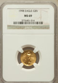 Modern Bullion Coins: , 1998 G$5 Tenth-Ounce Gold Eagle MS69 NGC. NGC Census: (5031/1736).PCGS Population (3267/120). Numismedia Wsl. Price for p...