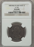 Large Cents, 1800 1C 80 Over 79, Style Two Hair, S-196, B-10, R.1 VG8 NGC. PCGSPopulation (1/3)....