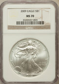 Modern Bullion Coins, 2009 $1 Silver Eagle MS70 NGC. NGC Census: (4544). PCGS Population(20744). Numismedia Wsl. Price for problem free NGC/PCG...