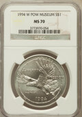 Modern Issues: , 1994-W $1 P.O.W. Silver Dollar MS70 NGC. NGC Census: (619). PCGSPopulation (402). Mintage: 54,790. Numismedia Wsl. Price f...