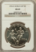 Modern Issues: , 1994-D $1 World Cup Silver Dollar MS69 NGC. NGC Census: (996/66).PCGS Population (1335/42). Mintage: 81,698. Numismedia Ws...