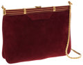 Luxury Accessories:Bags, Judith Leiber Burgundy Suede Deco Clutch with Shoulder Chain Bag ....