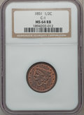 Half Cents, 1851 1/2 C C-1, B-1, R.1 MS64 Red and Brown NGC. NGC Census:(14/2). PCGS Population (14/2). Mintage: 147,672. Numismedia W...