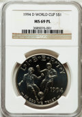 Modern Issues, 1994-D $1 World Cup Silver Dollar MS69 Prooflike NGC. NGC Census:(996/66). PCGS Population (1335/42). Mintage: 81,698. Num...